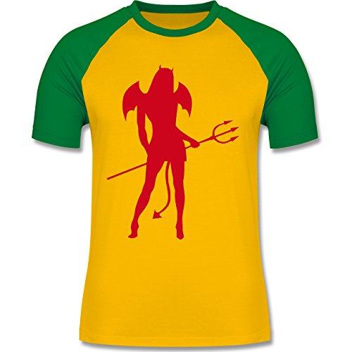 Halloween - Sexy Teuflin - zweifarbiges Baseballshirt für Männer Gelb/Grün