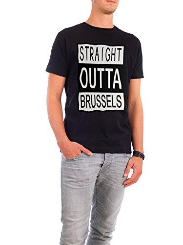 """Design T-Shirt Männer Continental Cotton """"Straight Outta Brussels"""" - stylisches Shirt Typografie Städte Reise von David Springmeyer Schwarz"""
