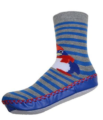 WB Socks Mocassin Enfant - Motif de Manchot - Chaussettes Antidérapantes WB Socks
