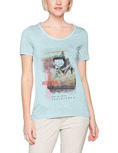 s.Oliver Damen T-Shirt 14704323805 Türkis (Bleached Aqua Placed Pr. 60D0)
