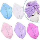SIQUK 5 pezzi Asciugamani a turbante Asciugamano Asciugamani Asciugamano Asciugatura rapida in microfibra Capelli Twist Asciugamano avvolto la testa avvolgere il cappello da bagno per le donne Ragazza