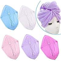 SIQUK 5 Piezas Toallas para el cabello Toalla para turbante Toalla para el cabello Envoltura para secado Microfibra de secado rápido Toalla para la cabeza con envoltura para el cabello Gorro de baño para mujer