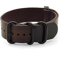 StrapsCo 22mm Dark Brown Burnt Faded Vintage Style Leather G10 Nato Zulu Watch Strap w/ Matte Black Rings