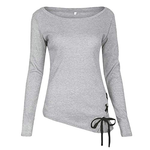 Grau Polyester Micro Elastic Frauen Oberteile Langarm Rundhals Perfect Mit Kordelzug Unregelmäßig Pullover Herbst Winter Slim Fit Basic T-Shirt Tops Style (Color : Colour, Size : S)