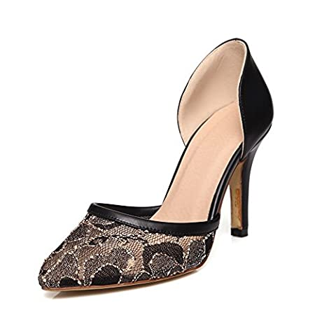 VogueZone009 Women's Blend Materials Pointed Closed Toe Spikes-Stilettos Solid Pumps Shoes, Black,