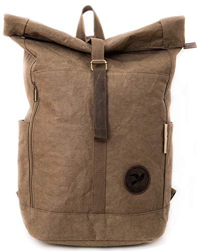 Papero ® Rucksack aus Kraft- Papier | Ultra minimalistisch Herren Damen, Robust, Wasserfest Vegan nachhaltig Urban Style FSC Zertifiziert | Kurier Taschen, Rolltop, Laptopfach für Uni