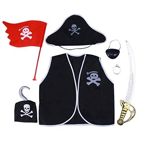 NUOBESTY 1 Set Kids Pirate Costume Set Augenklappe Hut Dress Up Zubehör für Cosplay Birthday Party Favors