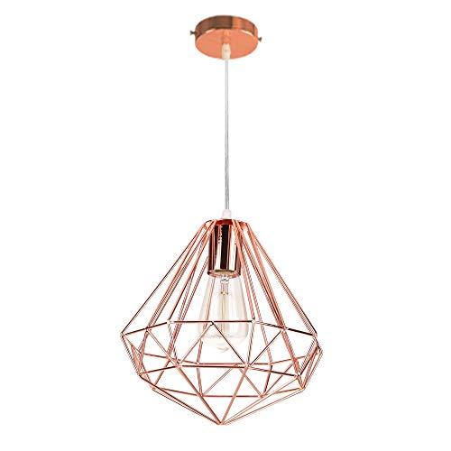 Industrial Design Diamant Hängeleuchte Prismatische Lampenschirm, Ø 26 cm Vintage Pendelleuchte Lampe Deckenleuchte LED Roségold -