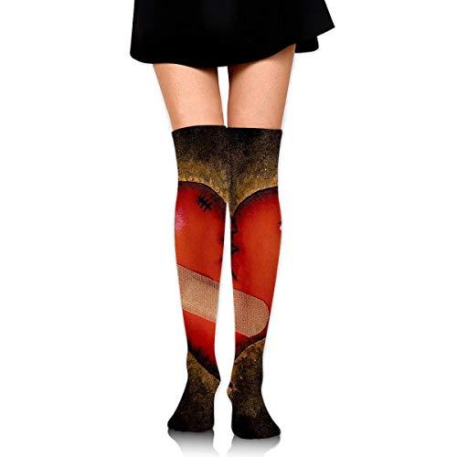 Bgejkos Women Crew Socks Thigh High Knee Broken Heart Long Tube Dress Legging Athletic Compression Stocking -