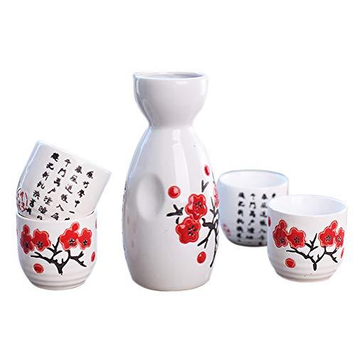 5pieza Sake japonés de cerámica pottery de porcelana pintada a mano tazas de decoración vasos de vino 4#