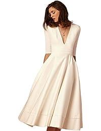 YiJee Donna Elegante Donna Vestito Lunghi V-Collo Midi Lungo Abito da Sera 4098ad3c3e4