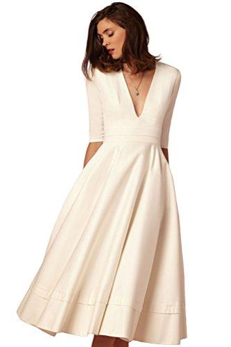 YiJee Donna Elegante Donna Vestito Lunghi V-Collo Midi Lungo Abito da Sera Bianco 2XL