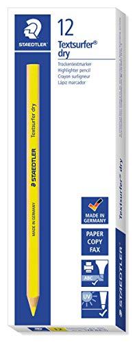 Staedtler 128 64-1 Trockentextmarker ergonomische Dreikantform, Dürchmesser Stift circa 9 mm, 12 Stück im Kartonetui, gelb