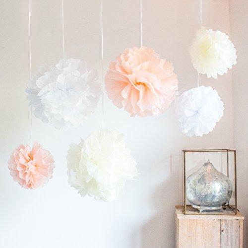 Werbewas - set di pon pon in carta velina, per fiori/palline, decorazione per matrimoni, feste, compleanni, baby shower, battesimi e altre occasioni
