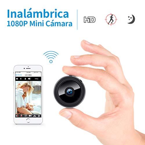 Mini cámara Oculta espía HD WiFi FREDI con visión Nocturna y conexión remota Desde iPhone/Android/iPad y detección de Movimiento y con Ranura de expansión de Memoria 128GB.