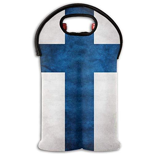 Finland Flag Distressed Two Bottle Wine Carrier Tote Bag Neoprene Wine/Water Bottle Holder Keeps Bottles Protected Multicolor9 Two Bottle Tote