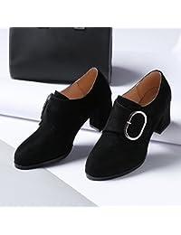 Una pista irregular zapatos para atrapar la cabeza redonda High-Heel Retro zapatos de moda zapatos de mujer, Negro,38