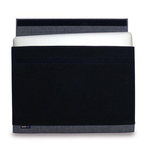 Adore June Laptop 15 Zoll Hülle [Serie Bold] speziell für Apple MacBook Pro Retina 15 2012-2015 Sleeve Tasche aus elegantem Baumwoll-Canvas [Schwarz] für MacBook Pro 15 A1398
