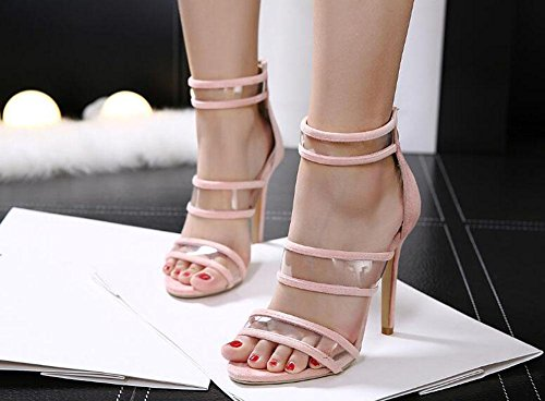 SHINIK Damen Open-Toed Pumps Transparente High Heel Sandalen Bankett Schuhe Schwarz Rosa Aprikose Pink