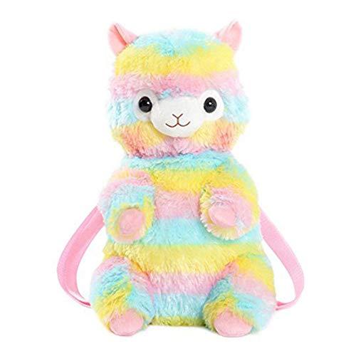 Alpacasso-Plüsch-Regenbogen-Alpaka-Schulrucksack für Mädchen, nette Alpaka-Plüschtier-Reise-Rucksack. - Plüschtiere Soft-plüsch