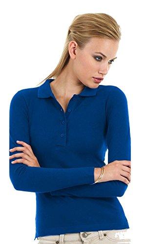 Polo maniche lunghe sportiva donna cotone piquet b&c safran maglia manica lunga, colore: blu royal, taglia: l