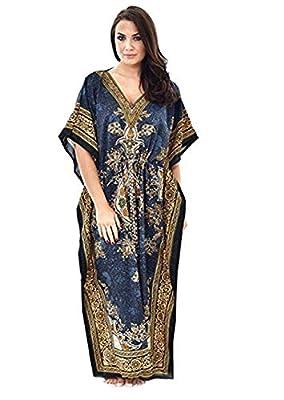 Classic Wear Kaftan Dresses for Women Tribal Ethnic Printed Long Kaftans Plus Size Loose Maxi Dress