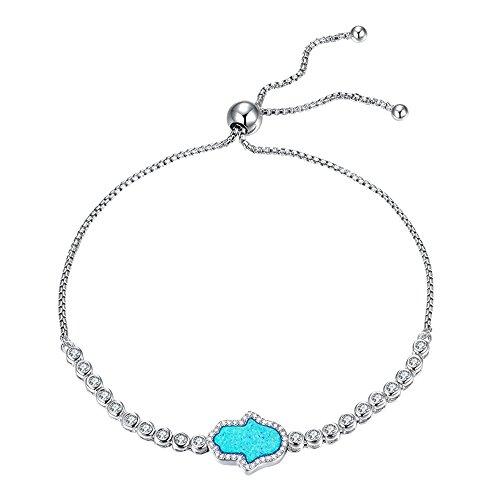 Kaletine Bracelet Hamsa Main De Fatima en Argent Sterling Chaîne d'ancrage Ajustable en Opale De Zircon Cubique 10in