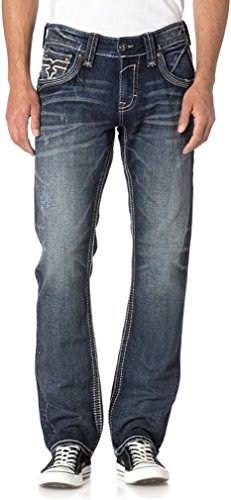 Rock Revival - - Herren Elber J200 Straight Jeans, 40, Denim