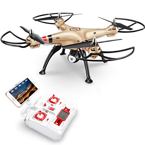 Syma X8HW New product 2,4 6-Axis Gyro FPV with the HD RC Quadcopter Drone camera includes an effective altitude maintenance function to fly very easy for beginners (Color: Gold)