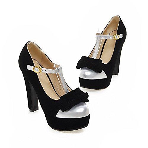 Rond Femme à Haut Légeres Boucle Talon Couleurs Noir Mélangées Chaussures VogueZone009 0pgqwxaAp