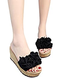 xiaogege Sommer New Korean Version Sandalen, Damen Toe Blumen, Beach Shoes., grün, 38,5