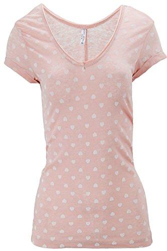 Sublevel Damen T-Shirt Shirt Top Stern Streifen weiß pink blau XS S M L XL