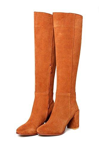 Donna di con Yellow e brown lungo spessore Stati gli l Europa Uniti stivali tubo rRq5rw