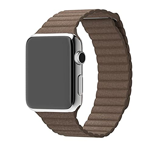 Leather Loop Band Strap Apple Watch 38mm (Light Brown) by Pdair
