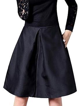 LINNUO Mujer Retro 50s Rockabilly Falda Midi A Linea Plisada Campana Vuelo Fiesta Oscilación Alto Cintura Faldas...