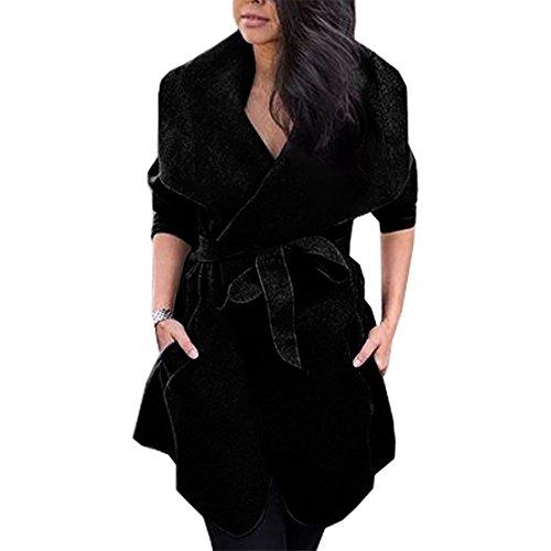 Yuan Damen Strickjacke Cardigan Langarmshirt Wasserfall Strickmantel (M, (Edc Besten Kostüme)