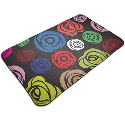 Rosa Flower Carpet Rose (Nifdhkw Non-Slip Door Mat Pink Rose Flower Design, Non Slip Absorbs Soft Rug Carpet for Indoor Outdoor Patio 31.5 X 19.5 Inch)