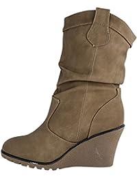 Damen Stiefel Schlupfstiefel Keilabsatz Stiefeletten Boots Wedge ST939 (40, Grau)