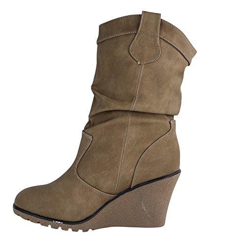 Damen Stiefel leicht gefüttert Stiefeletten Keilabsatz Boots ST188 Schlupfstiefel High Heels Khaki