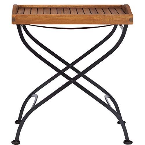 BUTLERS Parklife Standtablett Holz 65x45x72 cm - Beistell-Tisch aus FSC-Akazienholz und Metall schwarz verzinkt- Serviertisch, Gartenmöbel