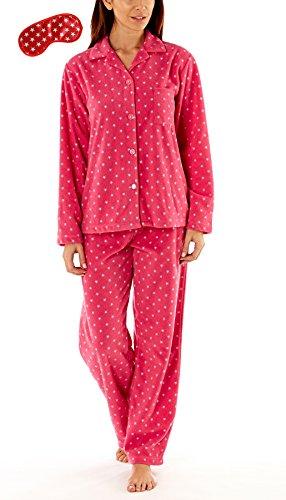 Damen Fleece Pyjama-Anzug Sanft und Warm mit Hasen Aufdruck Rosa 1