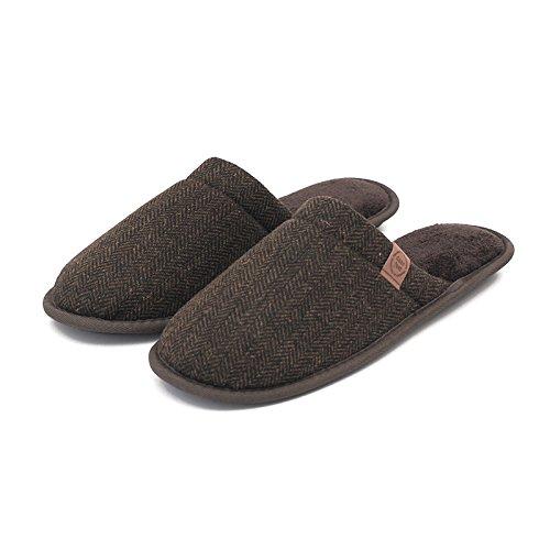 &zhou In autunno e inverno, Pantofole, uomini, in cotone, morbido, comodo, spessa, antiscivolo Brown