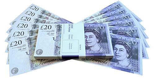 Premium Realistisches Pfund Spielgeld - Scheine wie echt UK 20 GBP falsche Scheine mit Gratis Sparbrief - Bedruckte Geldscheine perfekt für Filme, Social Media und Kasino Spiele geeignet