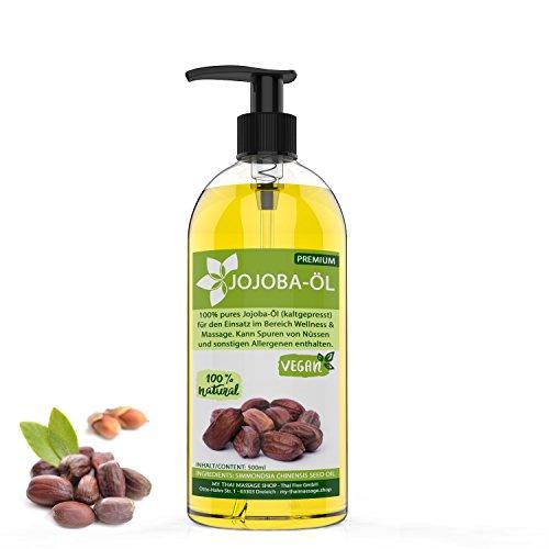 Jojobaöl kaltgepresst & nativ 500ml gold - MyThaiMassage Premium - natürlich & vegan - Wertvolles Öl für Haut, Haar & Nägel - Hautpflege Massageöl Kosmetik Bartpflege