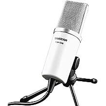 Mondpalast weiß Profi Kondensator Mikrofon Voll Set Silber-Kopf STUDIO Mic Broadcasting (inkl. Tisch-Stativ) Mount fuer Podcast Webcast Netzwerk Karaoke