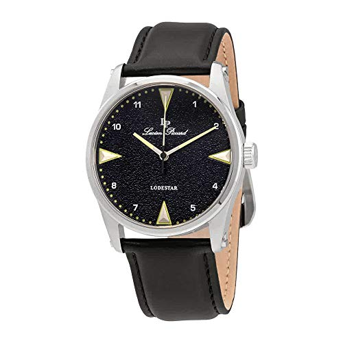 Lucien Piccard Black Dial Leather Mens Watch 40035-014
