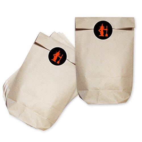 (Mitgebsel Tüten mit Halloween Motiv Aufkleber / Hexe / 16 Stück / Kreuzbodenbeutel / Horror Sticker Farbe Schwarz / Orange / Selbstklebend / Rund)
