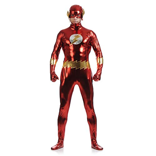 QWEASZER Das Flash-Comics Kostüm mit geformten Muskeln und Bauchmuskeln sowie Halbgesichtsmaske für Erwachsene und Jugendliche,The - Flash Muskel Für Erwachsene Kostüm