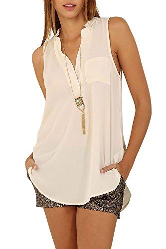 Eliacher Arbeiten Sie einfache Ärmellos Bluse 6640- Gr. XXL, Weiß (Abc Kostüme Für Mädchen)