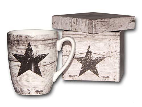 Bambelaa! Geschenkidee Design Geschenk Set Tasse Kaffeebecher in Geschenkbox Stern Star Porzellan hochwertig vintage retro Geschirr Geschenktassen Designtasse Geschenkartikel